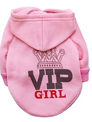 cheap -Cat Dog Hoodie Fleece Hoodie Tiaras & Crowns Fashion Winter Dog Clothes Pink Costume Cotton XS S M L