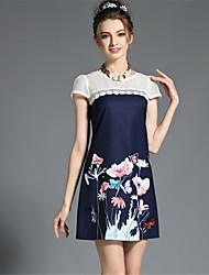 cheap -Women's Plus Size Daily A Line Dress - Floral Lace Cut Out Mesh Summer Blue Pink