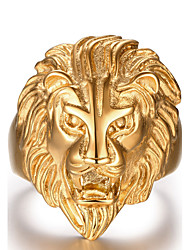cheap -Men's Statement Ring Golden Stainless Steel Fashion Hip Hop Christmas Gifts Daily Jewelry Lion Animal
