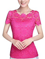 cheap -Women's Daily Weekend Street chic Plus Size Blouse - Solid Colored Dusty Rose, Lace Fuchsia / Summer