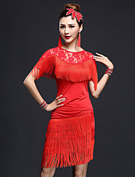 cheap -Latin Dance Outfits Women's Performance Nylon / Chinlon Lace / Tassel Short Sleeves High Top / Skirt