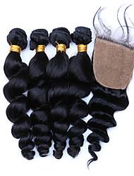 cheap -Brazilian Hair Loose Wave Virgin Human Hair Hair Weft with Closure Human Hair Weaves Human Hair Extensions