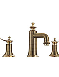 cheap -Bathroom Sink Faucet - Waterfall Rose Gold Widespread Two Handles Three HolesBath Taps / Brass
