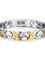 cheap -Women's Chain Bracelet Two tone Heart Love Ladies Fashion Stainless Steel Bracelet Jewelry Silver For Wedding Party Anniversary Birthday Gift Daily