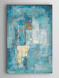 cheap -Oil Painting Paint Handmade Abstract Canvas Art Minimalist Turquoise Blue Modern Art With Stretched Frame
