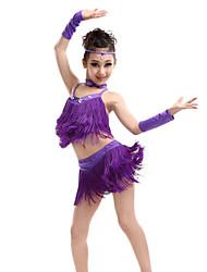 cheap -Latin Dance Top Tassel Crystals / Rhinestones Performance Sleeveless High Spandex Polyester