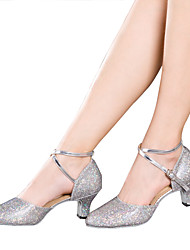 cheap -Women's Dance Shoes Latin Shoes / Ballroom Shoes / Line Dance Sandal Heel Sneaker Sparkling Glitter / Ruched / Sequin Cuban Heel Non Customizable Black / Silver / Gold / Indoor / EU42