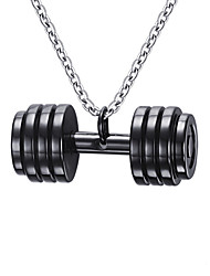 cheap -Men's Pendant Necklace Pendant Dumbbell Ladies Fashion Stainless Steel Black Gold Necklace Jewelry For Daily Casual