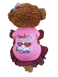 cheap -Dog Dress Dog Clothes Plaid / Check Red and Pink Cotton Costume For Summer