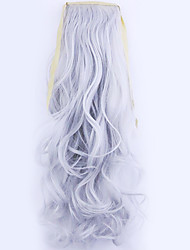cheap -Clip In Wavy Curly Ponytails Tie Up Hair Piece Hair Extension 20 inch Silver