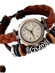 Недорогие -Жен. Модные часы Часы-браслет Цифровой Кожа Коричневый Аналоговый Богемные - Коричневый
