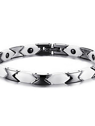 cheap -Black Gemstone Chain Bracelet Ladies Stainless Steel Bracelet Jewelry Black / White For Christmas Gifts Daily Casual