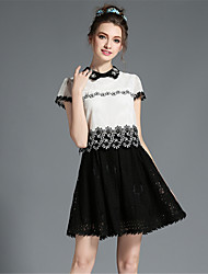 cheap -Plus Size Party A Line Dress - Patchwork Lace Beaded Cut Out Shirt Collar Summer White