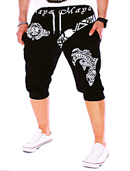 cheap -Men's Active / Basic Sport Sports Weekend Loose Active / Sweatpants / Shorts Pants - Letter White Black Blue L XL XXL