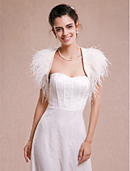 cheap -Sleeveless Shrugs Satin / Feather / Fur Wedding / Party Evening Wedding  Wraps With