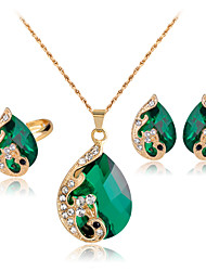 cheap -Women's Crystal Jewelry Set Peacock Mood Ladies Party Indian fancy Crystal Rhinestone Rose Gold Plated Earrings Jewelry Red / Green / Blue Peacock For Wedding Party Daily Masquerade Engagement Party