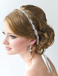 abordables -pleine fleur de cristal à la main ruban satin lacets bandeau pour la fête de mariage bijoux de cheveux dame