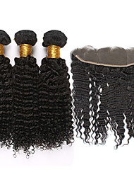 cheap -Mongolian Hair Curly Kinky Curly Curly Weave Virgin Human Hair Hair Weft with Closure Human Hair Weaves Human Hair Extensions