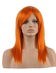cheap -Synthetic Wig Cosplay Wig Straight Straight Wig Medium Length Orange Synthetic Hair Women's Red