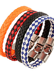 cheap -Men's Leather Bracelet Unique Design Fashion Leather Bracelet Jewelry White / Black / Black / Red For Christmas Gifts Party Daily Casual Sports