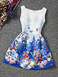 cheap -Kids Girls' Floral Going out Weekend Butterfly Print Sleeveless Dress Blue / Cotton