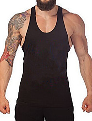 cheap -Men's Tank Top Shirt Graphic Solid Colored Basic Sleeveless Daily Slim Tops Cotton Active Round Neck Blue Red Gray / Sports / Summer