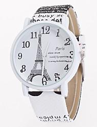cheap -Women's Ladies Wrist Watch Quartz Leather White / Blue / Brown Casual Watch Analog Flower Eiffel Tower Fashion - Light Brown Dark Brown Khaki One Year Battery Life / Tianqiu 377