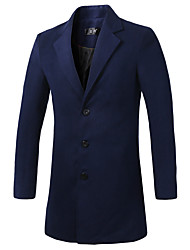 cheap -Men's Daily Fall / Winter Long Coat, Solid Colored Long Sleeve Black / Dark Blue / Royal Blue