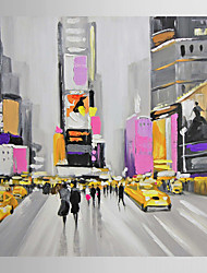 cheap -Hand Painted Oil Painting Landscape People Walking in Times Square-Ⅱ with Stretched Frame 7 Wall Arts®