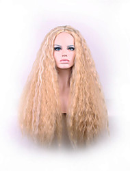 cheap -Synthetic Wig Curly Kinky Curly Kinky Curly Asymmetrical Wig Blonde Long Strawberry Blonde Synthetic Hair Women's Natural Hairline Blonde