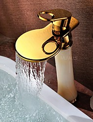 cheap -Art Deco/Retro Centerset Waterfall Widespread Ceramic Valve Single Handle One Hole Ti-PVD, Bathroom Sink Faucet