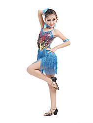cheap -Latin Dance Dresses Performance Polyester / Spandex Sequin / Tassel Sleeveless High Dress / Headwear / Neckwear