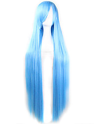 cheap -Cosplay Costume Wig Synthetic Wig Straight Straight Asymmetrical Wig Long Light Blue Synthetic Hair Women's Natural Hairline Blue