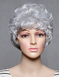 cheap -Synthetic Wig Wavy Wavy Wig Short White Synthetic Hair Women's Gray