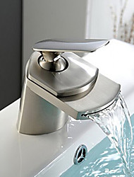 cheap -Bathroom Sink Faucet - Waterfall Nickel Brushed Centerset Single Handle One HoleBath Taps