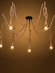 cheap -8-Head Vintage Industrial Hemp Rope Chandelier Living Room Restaurant Pendant Lights Kitchen Pendant Light