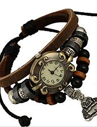 Недорогие -Жен. Модные часы Цифровой Кожа Коричневый Аналоговый Коричневый