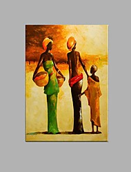 cheap -Oil Painting Hand Painted - Abstract / People / Abstract Portrait Pastoral / Modern / European Style Canvas