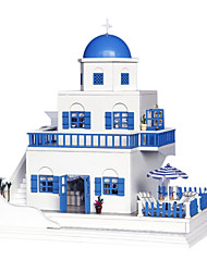 cheap -Dollhouse Building Kit Miniature Room Accessories Holiday Seascape Sound activated LED lights Creative DIY Wooden Kid's Adults' CUTE ROOM Santorini
