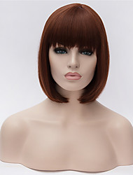 cheap -Synthetic Wig Straight kinky Straight kinky straight Straight Bob With Bangs Wig Short Dark Auburn Synthetic Hair Women's Natural Hairline Dark Brown