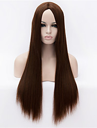 Недорогие -Парики из искусственных волос Прямой Яки Прямой силуэт Яки Парик Искусственные волосы Коричневый