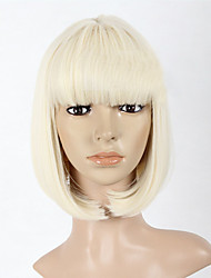 cheap -Synthetic Wig Straight Straight Bob Wig Blonde Medium Length Dark Black Strawberry Blonde Bleached Blonde Synthetic Hair Women's Black Blonde