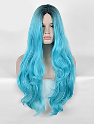 cheap -Synthetic Wig Wavy Wavy Wig Long Blue Synthetic Hair Women's Blue