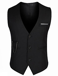 cheap -Men's V Neck Vest Regular Solid Colored Daily Work Sleeveless Black M / L / XL / Slim