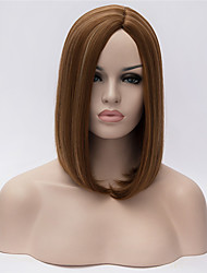 cheap -Synthetic Wig Straight kinky Straight kinky straight Straight Bob Asymmetrical Wig Short Brown Synthetic Hair Women's Middle Part Bob Natural Hairline Brown