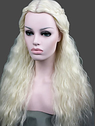cheap -Synthetic Wig Cosplay Wig Curly Style Wig White Synthetic Hair Women's Middle Part Braided Wig White Wig Long StrongBeauty