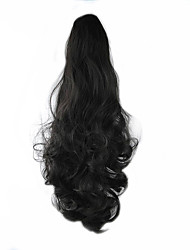 cheap -Length Black Wig 58CM Synthetic Curly High Temperature Wire Scroll Horsetail Color 4
