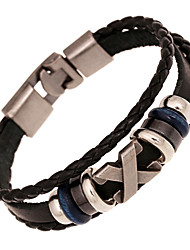 cheap -Bead Bracelet Leather Bracelet woven Vintage Leather Bracelet Jewelry White / Black / Brown For Christmas Gifts Wedding Party Daily Casual Sports