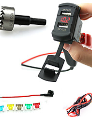 cheap -Iztoss Car Charger Socket Plug Rocker Style Dual USB Port with Voltmeter Red LED Light and Wires Fuse Holder