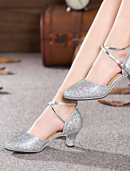 cheap -Women's Latin Shoes Ballroom Shoes Salsa Shoes Line Dance Sandal Heel Sparkling Glitter Ruched Cuban Heel Black Silver Gold Buckle 2021